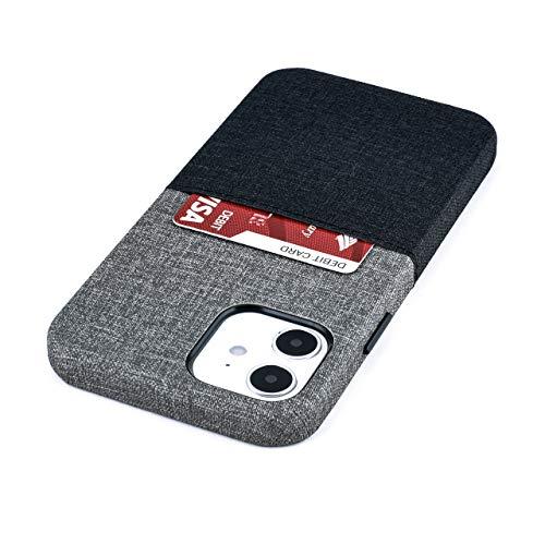 Dockem Luxe M1 Funda Tipo Tarjetera para iPhone 12 y iPhone 12 Pro: Placa de Metal Incorporada para Montaje Magnético con Tarjetero de Cuero Sintético Estilo Lona: Serie M [Negro y Gris]