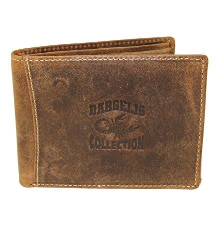 Herren Portemonnaie aus weichem echtem Leder im Querformat robuste Geldbörse Ledergeldbörse Geldbeutel Braun GB07 (GB07_Braun_Querformat_Skorpion)