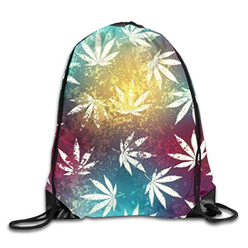 shenguang Colorful Marihuana Weed Grunge Leaves Drawstring Sports Backpack Gym Yoga Sackpack String Bag Travel Storage Sack for Women And Men Adatto per la Scuola Nuoto Corsa Spiaggia all'aperto