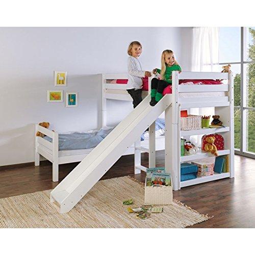 Etagenbett mit Leiter, Buche massiv weiß lackiert, inkl. 2 Rolllattenroste 90x200cm, umbaubar zu 2 Einzelbetten