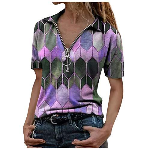 Dwevkeful Stehkragen Kurzarm Shirts mit Reißverschluss Vintage Frauen Poloshirts mit Bunte Diamant Motiv Klassisch Casual V-Ausschnitt Lässig Print T-Shirt Tops Streetwear Top Hemd Bluse