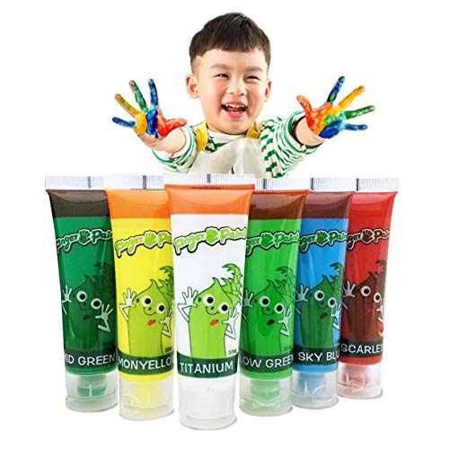 Hapree 6 Colors Washable Finger Paint, Non-Toxic Bathtub Kids Paint Set, Fingerpaints Kit for Toddlers, 6 x 30 ml (1.02 fl. oz)