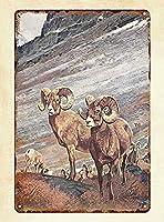 ホーン羊ヴィンテージスタイルメタルサインアイアン絵画屋内 & 屋外ホームバーコーヒーキッチン壁の装飾 8 × 12 インチ