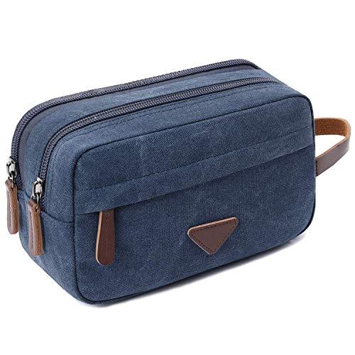 Confortabil Neceser de viaje bolsa de lona de cuero cosmético maquillaje organizador de afeitar Dopp kits con doble compartimentos para hombres