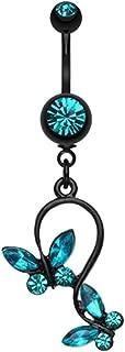 Blackline Butterfly Gem Loop WildKlass Belly Button Ring