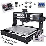 Craftsman Upgrade CNC 3018 Pro GRBL Control DIY CNC Machine,3 Axis PCB PVC Milling Engraving Machine,Wood Router Laser Engraving XYZ Working Area 300x180x45mm (3018-PRO with extension rod)