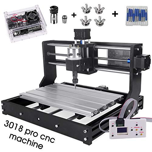 Cenoz Upgrade CNC 3018 Pro GRBL Control DIY CNC Machine,3 Axis PCB PVC Milling Engraving Machine,Wood Router Engraving XYZ Working Area 300x180x45mm (3018-PRO with extension rod)