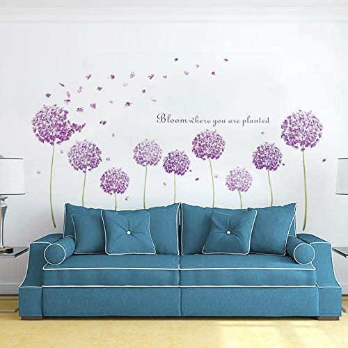 decalmile Pegatinas de Pared Diente de León Púrpura Vinilos Decorativos Flores de Hortensia Adhesivos Pared Habitación Niña Dormitorio Salón Oficina