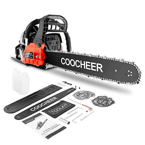COOCHEER Chainsaw, 62CC 2 Stroke Gas Powered Chainsaw, 20-Inch 3.5 HP and Handheld Gasoline Chain Saw with Carry Bag for Tree Stumps, Limbs, Tree Felling, and Firewood Cutting(Red)