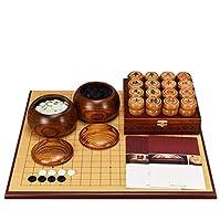 中国のチェスセット、厚い両面チェス盤無垢材チェスの駒(知的思考演習)