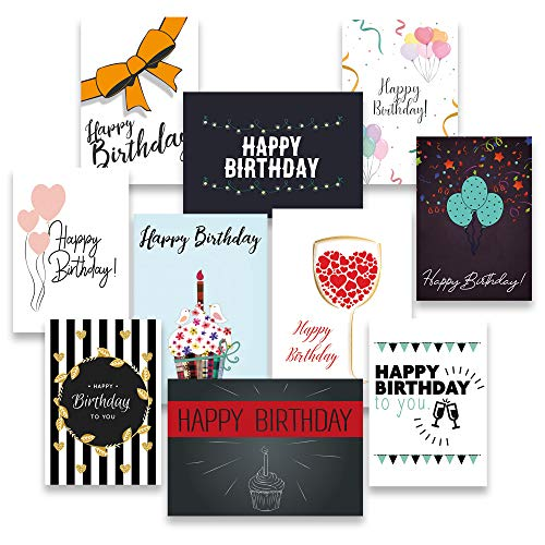 30 Geburtstagskarten und Umschläge - inklusive E-Paper mit den schönsten Geburtstagsgrüßen - 10 hochwertige Geburtstagskartendesigns - 100% Made in Germany - von Davom