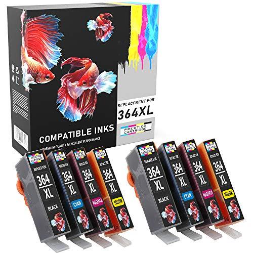 Prestige Cartridge 364 364XL Cartuchos de Tinta Compatible con HP Photosmart 5520 5510 6520 7520 7510 6510 B209a C6380 C5380 C510a C310a D5460 Officejet 4620 Deskjet 3520 3070A | Pack de 8