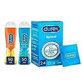 Durex Preservativos Comfort + Lubricante Play Efecto Calor + Lubricante Efecto Frescor - 24 condones + 2x50ml