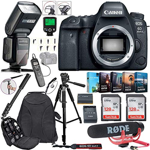 Canon EOS 6D Mark II DSLR Camera (Body Only) Bundle Includes 2X 128GB Memory, TTL Auto Flash, Canon Backpack, Rode...