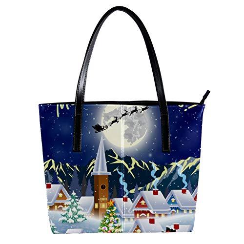 LORVIES Weihnachtsbaum, Schneemann, Mond, Silhouette, Weihnachtsmann, fliegende Schlitten aus PU-Leder und Handtasche für Damen
