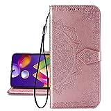 COTDINFOR Etui für Nokia 7.2 Hülle, PU Leder Cover Schutzhülle Magnet Tasche Flip Handytasche im Bookstyle Kartenfächer Lederhülle für Nokia 6.2/7.2 Half Mandala Rose Gold SD