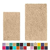 LuxUrux Bathroom Rug Set–Extra-Soft Plush Bath mat Shower Bathroom Rugs,1'' Chenille Microfiber Material, Super Absorbent (Rectangular Set, Birch)