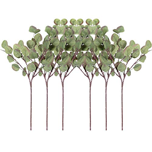 ZHIIHASO Artificial Eucalyptus Garland Long Silver Dollar Leaves Foliage Plants Greenery Fake Plastic Branches Greens Bushes (Green Autumn, 6 pcs)