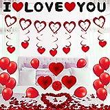 RANJIMA Hochzeits-Deko Set, Valentinstag Romantisch Deko Set Rote Rosenblüten Hochzeits-Ballons I LOVE YOU Herz Banner Liebe Faltfächer für Heiratsantrag Standesamt Verlobung Frisch verheiratet