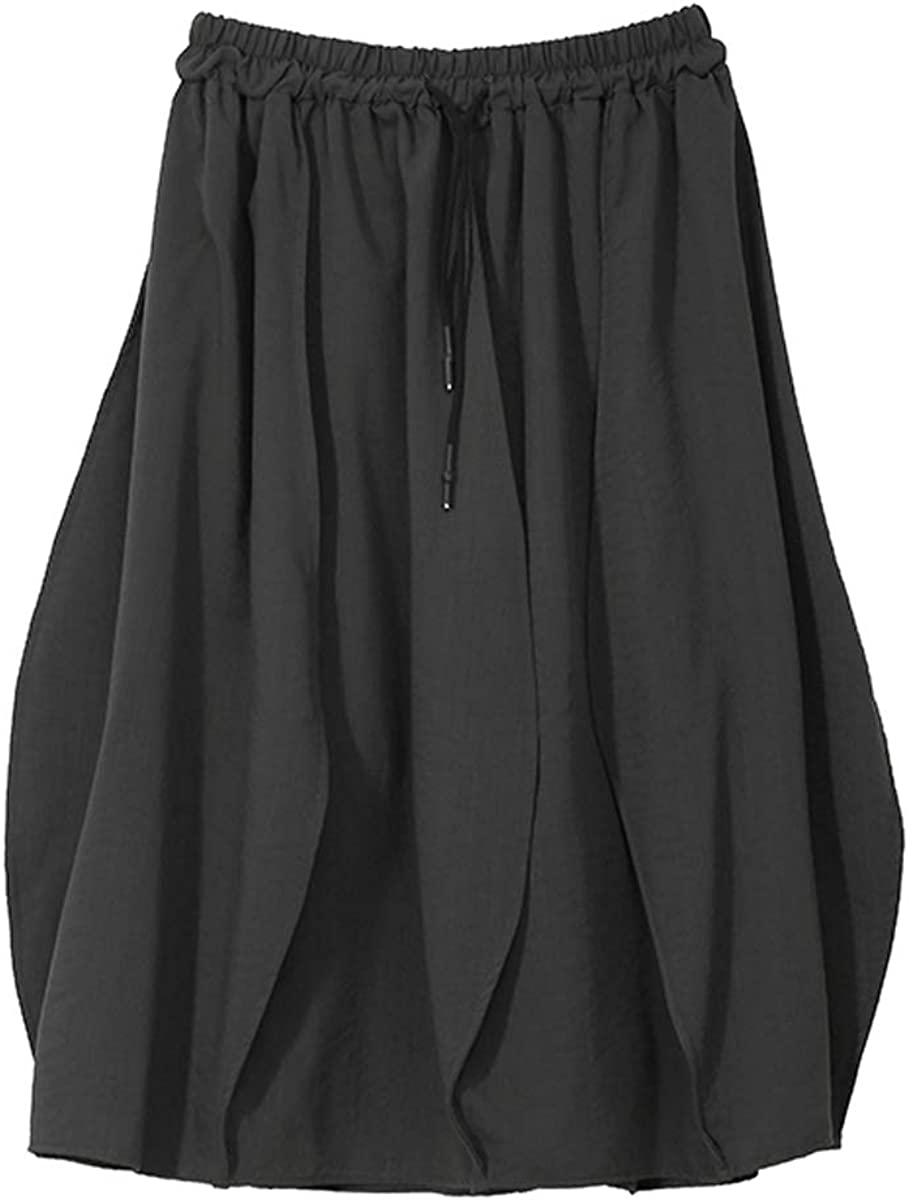 Korean Style Women Solid Black A-Line Skirt Elastic Waist with String Ladies Casual Loose Skirts