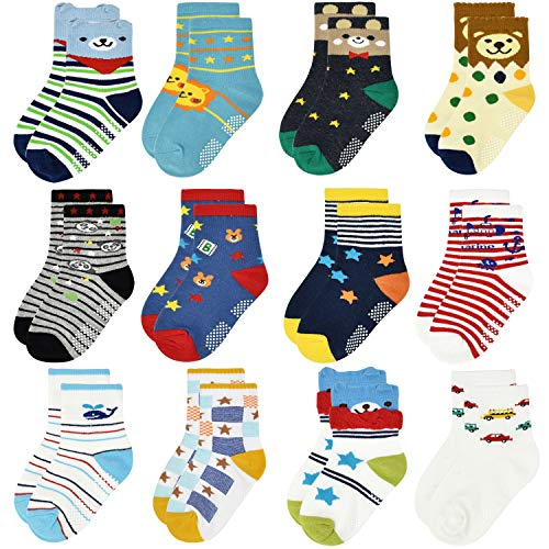ELUTONG Calcetines antideslizantes para bebé, 12 pares, 1 – 7 años, recién nacidos, no Skip for Baby Boys Catoon Children Trainer divertidos calcetines Bear&star(12 Paare) 3-5 Años