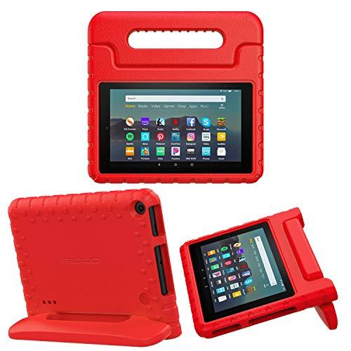 MoKo Custodia Protettiva per Kindle Fire 7 Tablet (9th Generation - 2019 Release), Case Convertibile Leggera per Bambini, Leggera e Resistente Agli Urti - Rosso