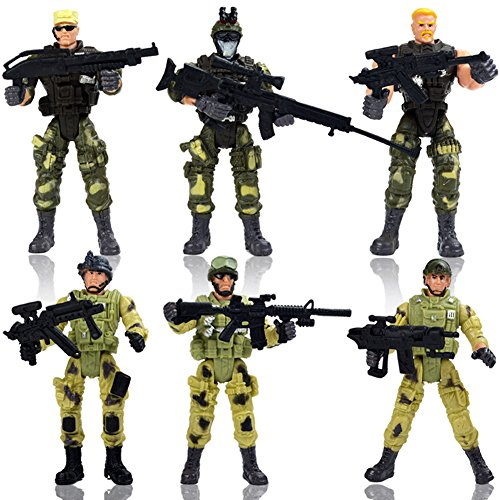 HAPTIME 6 Pcs Action Figure Army Soldiers Toy with Weapon / Military Figures Playsets War Men SWAT Special Force (Each 4