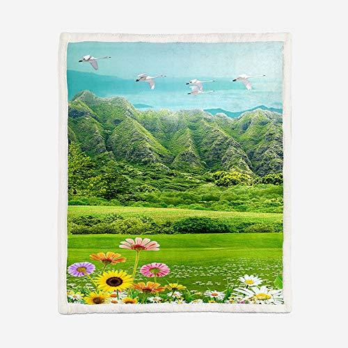 JNBGYAPS 3D Flannel Fleece BlanketFlower, mountain and bird landscape Sherpa Throw Blanket, Double-Sided Fleece Warm Super Soft Comfort Caring Gift for Children and Adult59.1x78.7 Inches
