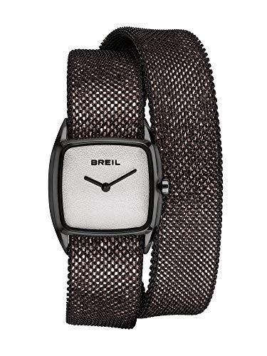 BREIL - Damenkollektion New Snake Armbanduhr TW1853 - Damenuhr aus poliertem Edelstahlnetz und Lederarmband - Schwarzer Edelstahl