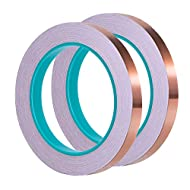 1/ 4 Inch Copper Foil Tape with Dual Conductive Adhesive 21.8 Yards for EMI Shielding, Slug Repellent, Crafts, Electrical Repairs, 2 Pack