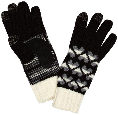 isotoner Damen Handschuh - Multicolored - Black/Cream Heart - Einheitsgröße