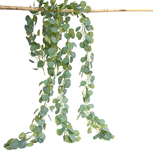 2Pcs 6.5ft Faux Eucalyptus Garland, Artificial Eucalyptus Leaves Plants Vine, Handmade Faux Silk Plastic Hanging Plant Foliage for Wedding Party Table Backdrop Arch Wall Indoor Outdoor Decor