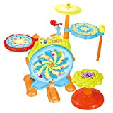 IQ Toys My First Baby Drum Set Toy Musical Instruments Includes Sing Along Microphone, Chair, and Drum Sticks for Toddlers Complete Musical and Learning Educational Sensation