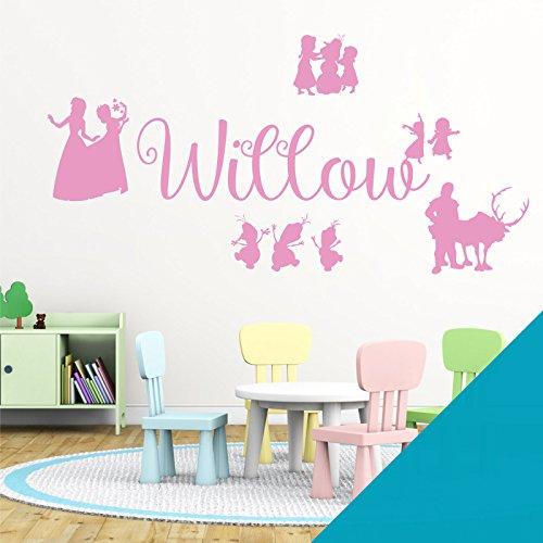 Wall Designer Nom personnalisé Filles Art Mural Autocollant – inspirée de Disney La Reine des neiges, Elsa, Anna, Olaf, Kristoff, Bleu Ciel, Large (950x290mm)