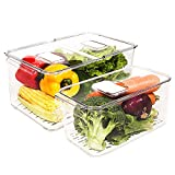 Image of elabo Food Storage Containers Fridge Produce Saver- Stackable Refrigerator Organizer Keeper Drawers Bins Baskets with Lids and Removable Drain Tray for Veggie, Berry and Fruits, 1 X-Large and 1 Large