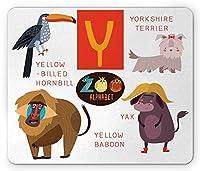 ABCキッズマウスパッド、アルファベットYアニマルズレターYak Yorkshire Terrier Yellow Baboon Playful Student、Standard Size Rectangle Non-Slip Rubber Mousepad、Multicolor