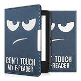 kwmobile Hülle kompatibel mit Tolino Shine 2 HD - Kunstleder eReader Schutzhülle - Don't Touch My E-Reader Weiß Dunkelblau