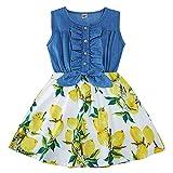 AIDEAONE Vestido de verano sin mangas con estampado de flores, 2-9 años...