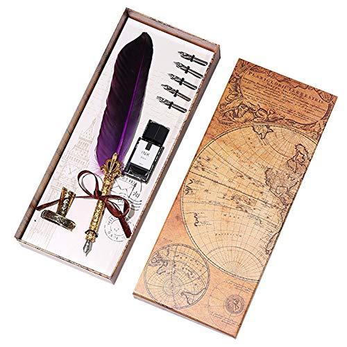 Hacoly Set penna piuma Palo d'oro Piuma Antico Penna Vintage Feather Penna naturale Quill Pen penna piuma inchiostro Penna Calligrafica Piuma - Viola