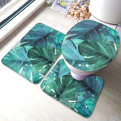 Tropical Green Leaves Watercolor Aquamarine 3 Pieces Bath Rug Set Toilet Seat U-shaped toilet floor mat,Pedestal Mat and Toilet Lid Cover