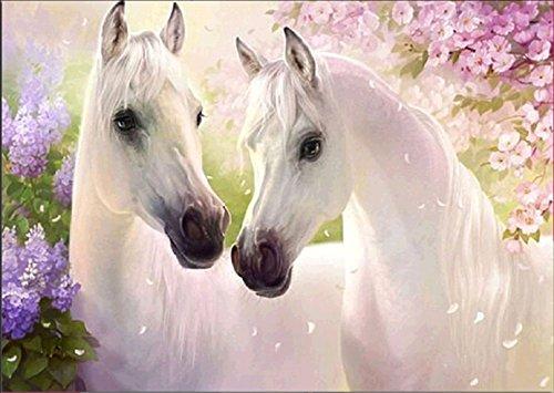 5D Diamantbild, Malen nach Zahlen,5D DIY Diamond Painting,Diamant Malerei Set zwei weiße Pferde, Kristallstrass-Stickerei, Kreuzstich-Bild, Kunsthandwerks-Zubehör, Leinwand, Wanddekoration