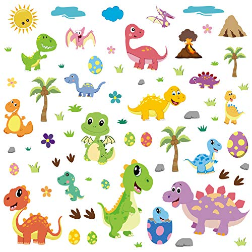 CCINEE 85 PCS Dinosaur Window Cling Decals for Kids,Assorted Cute Dinosaur Foot Print Eggs Window Sticker Decorations for Kids Toddlers