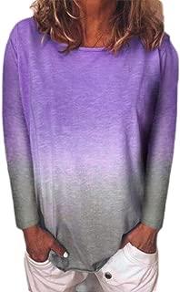 FSSE Women's Plus Size Casual Long Sleeve Round Neck Gradient Color Blouse T-Shirt Top