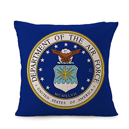 Bayyon U.S. Air Force Home Square Cotton Linen Sofa Cushion Covers Decorative Pillow Cases 18 X 18 Inch American Flag Zippered Custom Throw Pillow Cover