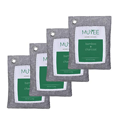 Muyee Bamboo Charcoal Bags 4 Pack, Freshen Odor Absorber Bags, Breathe Green Charcoal Bags for Home, Car, Closet (4 x 200g)