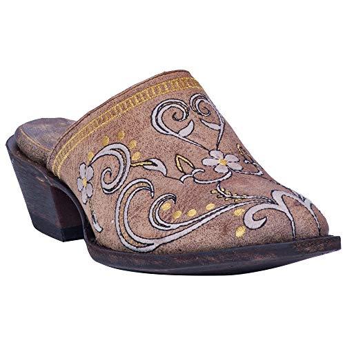 Dan Post Flower Clog Leather Shoe Tan