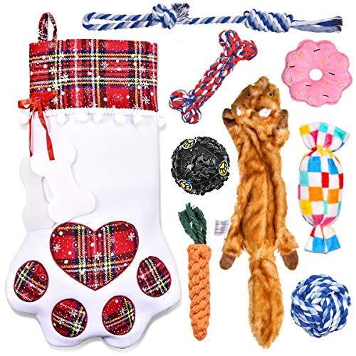 Feeko Christmas Dog Stocking with Dog Toys Set- 9 Pcs Dog's Gift - Plush Dog Toy, Dog chew Toy, Rope Dog Toys Ball for Small Medium Dogs