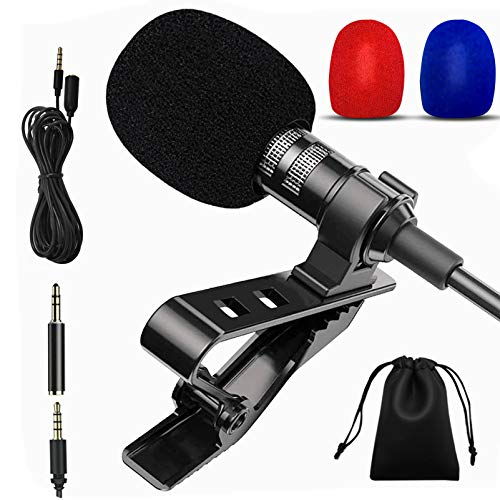 YOLETO 3.5mm Mini Lapel Microphone Kit for PC/Laptop/Camera/Phone, 6 in 1 Tiny Recording Lavalier Clip On Mic for Podcast/Streaming/Vlog/Video/Gaming/Gifts for Him