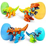AceList Take Apart Dinosaur Toys Dino Easter Eggs STEM Games Engineering Building Play Kits for Kids Toddlers Girls Age 3 4 5 Year Old (4 Dinosaurs& 4 Eggs)