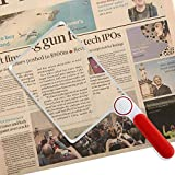 3X Large Page Rectangular Hand-held Magnifier Magnifying Lens with Protective Cover for Reading Small Prints
